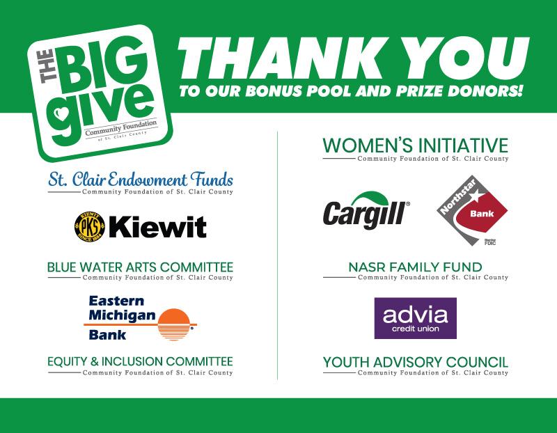 Bonus pool & prize donor thank yous